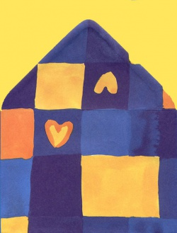 Papeterie - Z nadrukiem - Papeteria szachownica granatowa z serduszkiem