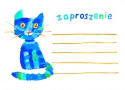 """Zaproszenia - Na kinderbal - """"Niebieski kot"""""""